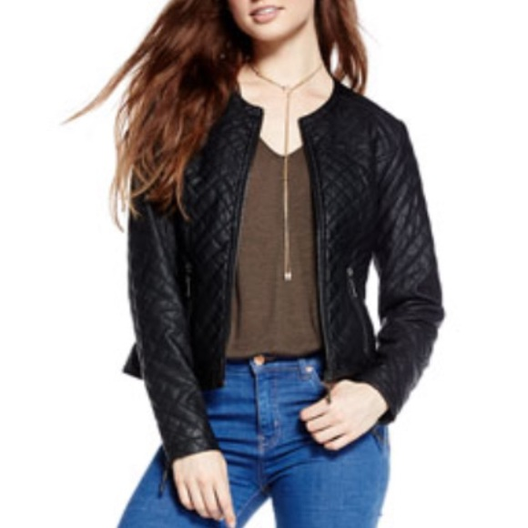 MAX JEANS black faux leather moto jacket XS S (E2)